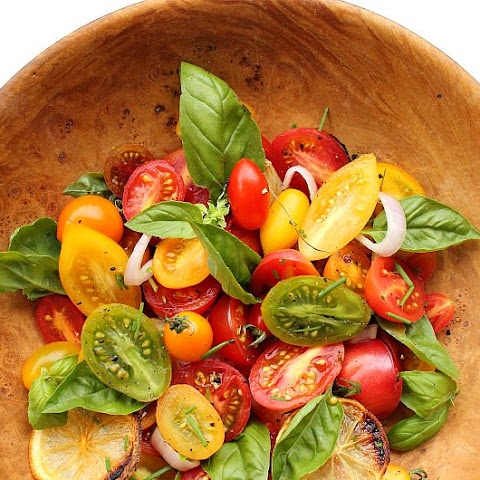 Heirloom Tomato Salad with Roasted Lemon and Garlic