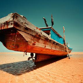 waiting for high tide- by Assoka Andrya - Transportation Boats