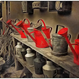 Watering Soldiers by Glenn Visser - Digital Art Things ( water, soldiers, art, watering cans, row )