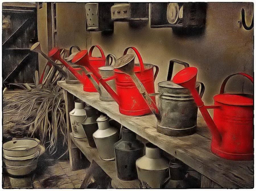 Watering Soldiers by Glenn Visser - Digital Art Things ( water, soldiers, art, watering cans, row )