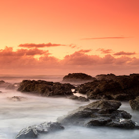 Ocean Views by Tyhe Reading - Landscapes Waterscapes ( water, clouds, colour, sky, pentax, beach, sunrise, rocks )