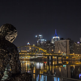 Mr Rogers watching over Pittsburgh by Jackie McCorkle Tepe - City,  Street & Park  Skylines
