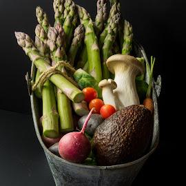 Veggie Bucket by Jim Downey - Food & Drink Ingredients ( tomato, asparagas, potato, radish, mushrooms )