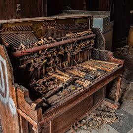 J. by Roy Walter - Artistic Objects Musical Instruments ( old, piano, keys, artistic object, junk )