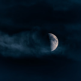 Moon Missile  by Lance Emerson - Landscapes Starscapes ( clouds, moon, detail, night scene, navy blue, captivating, nightscape, amazing, blue, astrophotography, night, motion, nightscapes )