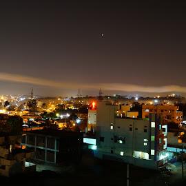 Night by Vilasini Tinnaneri - City,  Street & Park  Skylines ( lights, skyline, beautiful, pollution, cityscape )