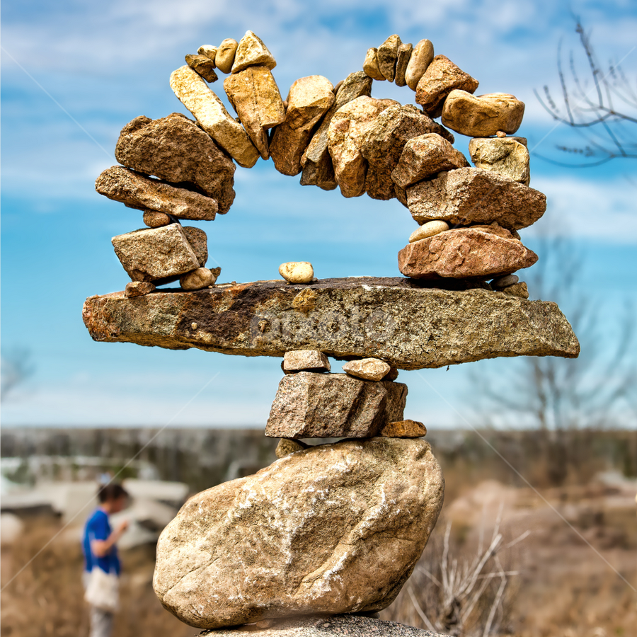 by Judy Rosanno - Nature Up Close Rock & Stone ( march 2018, earth art, llano earth art festival, rock stacking, art, texas, leaf, stones, rocks, rock towers, llano )