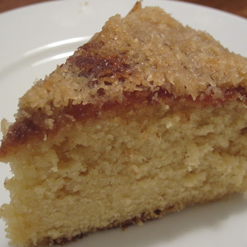 Hot Milk Sponge Cake w/ Broiled Coconut Topping