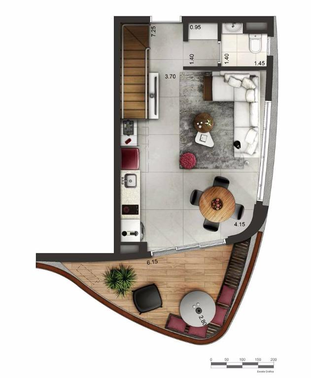 Apto Duplex Inferior - 94,5 m²