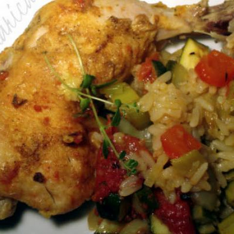Chicken Legs With Rice And Vegetables