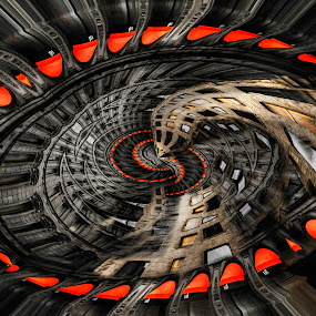 Abstract Building by Sarah Hauck - Digital Art Abstract ( building, walls, windows, circle, spiral walls )