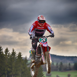 Number 3 by Marco Bertamé - Sports & Fitness Motorsports ( 3, red, motocross, blue, speed, green, number, brown, air, high, race, noise, jump )