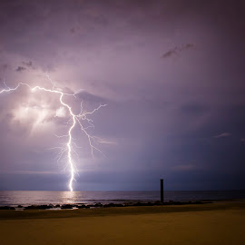 Lightning_4 by Greg Bierer - Landscapes Beaches ( lightning, sunset, florida, weather, beach, storm )