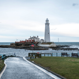 Looking towards St Mary's Island, Whitley Bay by Graham Dobson - Buildings & Architecture Architectural Detail ( bates island, lighthouse, causeway, st mary's, whitley bay, st mary's island )