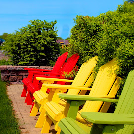 Colorful Chairs by Becky McGuire - Artistic Objects Furniture ( orange, chair, red, tvlgoddess, lawn, becky mcguire, colorful, relax, green, adirondack, patio, yellow )