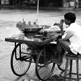 Vendor by DrArindam Ghosh - People Street & Candids ( street candids, black and white, street, bw, street photography )