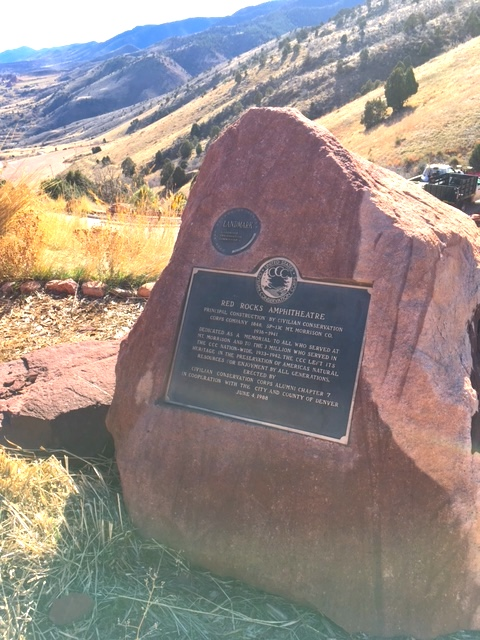 RED ROCKS AMPHITHEATREPRINCIPAL CONSTRUCTION BY THE CIVILIAN CONSERVATIONCORPS COMPANY 1848, SP-13C MT. MORRISON, CO.1936-1941DEDICATED AS A MEMORIAL TO ALL WHO SERVED ATMT. MORRISON AND TO THE 3 ...