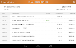 Screenshot of PFCU Mobile