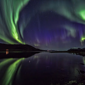 Aurora over water by Benny Høynes - Landscapes Waterscapes ( colors, aurora borealis, reflections, lines, landscapes, norway )