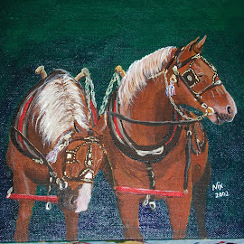 The Team by Jackie Nix - Painting All Painting ( draft, horses, harness, acrylic, team )