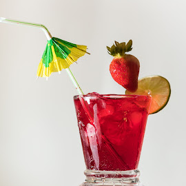 Strawberry coming to Land by Barry Carter - Food & Drink Alcohol & Drinks ( red, still life, cocktail, diving, cool drink, strawberry )