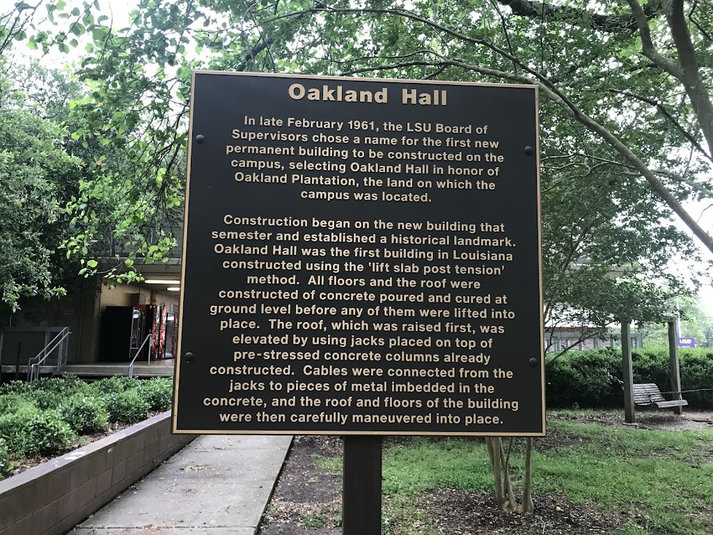 In late February 1961, the LSU Board of Supervisors chose a name for the first new permanent building to be constructed on the campus, selecting Oakland Hall in honor of Oakland Plantation, the land ...