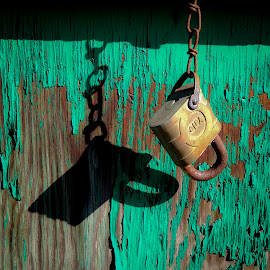 Lock and Shadow by David Stone - Artistic Objects Other Objects ( peeling paint, chain, old paint, shadow, lock, paint, rust, padlock,  )