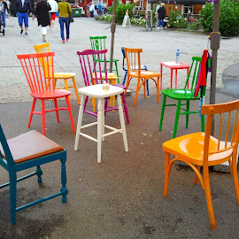 colours by Liliana Lesu - City,  Street & Park  Street Scenes ( chairs, street view, norway, out, colours )
