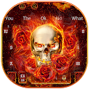 Burning Fire Rose Skull Keyboard Theme 10001003 APK تنزيل