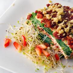 Rawsagna with zucchini noodles, spinach, marinara sauce, herb nut cheese, marinated mushrooms