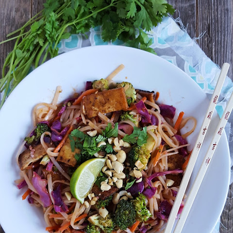 Vegan Pad Thai with Crispy Fried Tofu