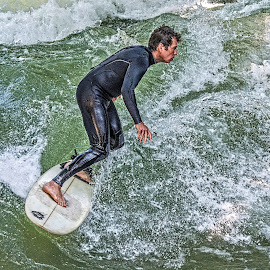 On the Board by Richard Michael Lingo - Sports & Fitness Surfing ( water sports, sports, surfing, man, athletics,  )