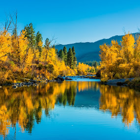 Verdi River Reflection in Fall by Billy Brooks - Landscapes Waterscapes ( verdi, reflection, fall, river, nv )
