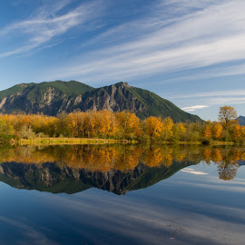Mt. Si beyond Mill pond by Greg Varney - Landscapes Mountains & Hills ( water, reflection, mill pond, colors, north bent, mt. si )