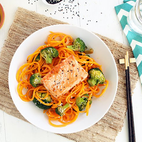 "Salmon with Butternut Squash ""Soba"" Noodles and Sesame Broccoli"