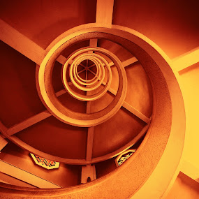 Hidden in the spiral by Edo Kurniawan - Buildings & Architecture Other Interior ( stair, chinesse, mystery, hidden, reddish, sureal, yellow, spiral, surreal, garden, singapore )