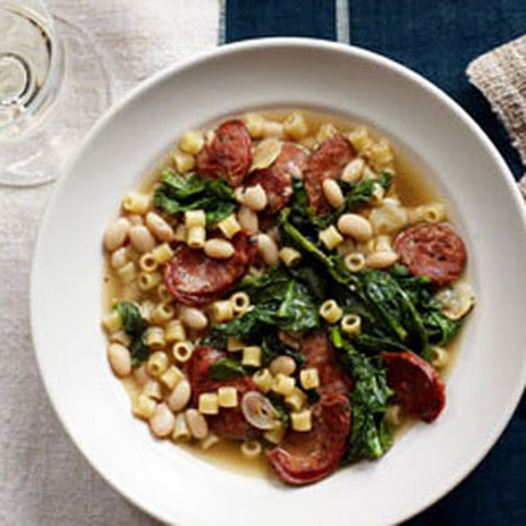 Quick Sausage, White Bean and Spinach Stew