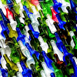 Lots Of Colourful Bottles  by Ian Popple - Abstract Patterns ( red, colourful, blue, green, white, bottles )