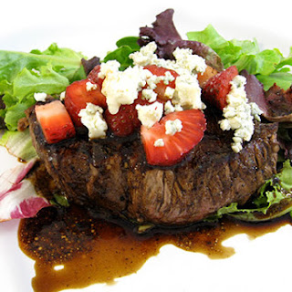 Skinny Steak, Strawberries and Gorgonzola With a Dreamy Balsamic Reduction