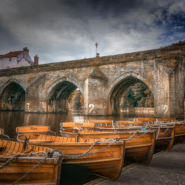 Durham Boats by Adam Lang - City,  Street & Park  Historic Districts ( durham, hdr, boathouse, boats, river )