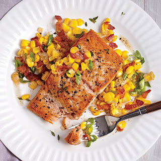 Seared Salmon with Sweet Corn and Bacon Saute?