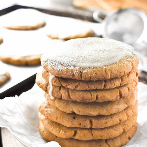 Crispy Pumpkin Sugar Cookies with Ginger Maple Glaze