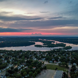 Drone view by Anna Varwig - City,  Street & Park  Skylines ( wisconsin, sunset, above, cityscape, summer )