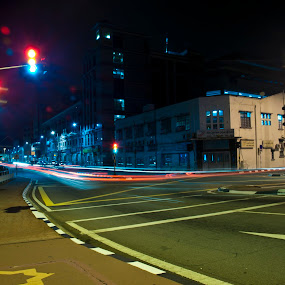 One Night at Bandar Seri Begawan by Rashid Mohamad - City,  Street & Park  Street Scenes ( light trail, street, bandar seri begawan, night, traffic light )