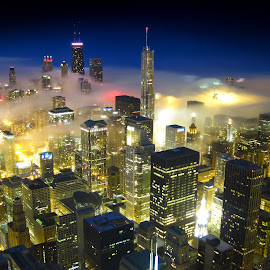 On Cloud 9 by Michael Bishara - Buildings & Architecture Architectural Detail ( chicago skyline, fog, blue hour, chicago, city, mood factory, color, lighting, moods, colorful, light, bulbs, mood-lites, city at night, street at night, park at night, nightlife, night life, nighttime in the city )