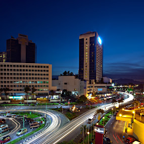 Kuching City At Night by Stuart Rango - City,  Street & Park  Street Scenes ( stuart, kuching, trail, rango, light, sarawak )