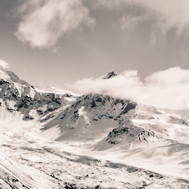 Untitled Alaska by Kelly Maize - Landscapes Mountains & Hills ( mountain, snow, alaska, clouds, black and white, landscape )