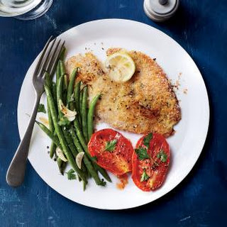Baked Tilapia with Garlicky Green Beans and Roasted Tomatoes