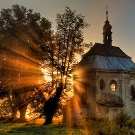 sunrise at the chapel (solstice) by Petr Germanič - Buildings & Architecture Places of Worship ( tree, solstice, chapel, sunrise, rays )