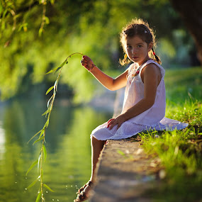 Fishing by Nicu Buculei - Babies & Children Child Portraits ( child, girl, children, lake, willow, kids, kid,  )